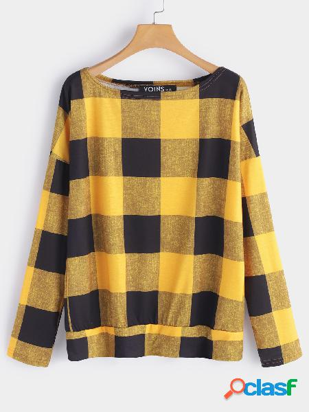 Yellow grid pattern one shoulder long sleeves loose t-shirt