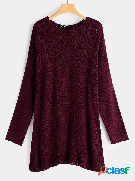 Burgundy plain round neck long sleeves loose fit sweaters