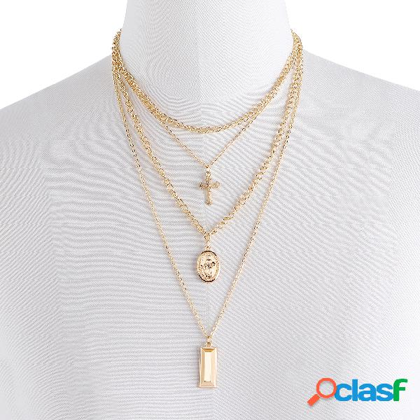 Gold Crucifix Layered Pendant Necklace