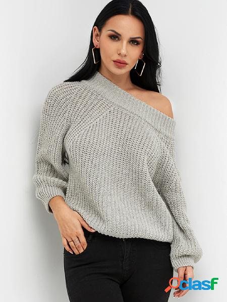 Grey cable knit plain off the shoulder long sleeves loose sweaters