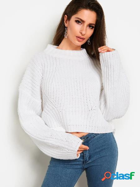 White plain round neck long sleeves loose knitting sweaters