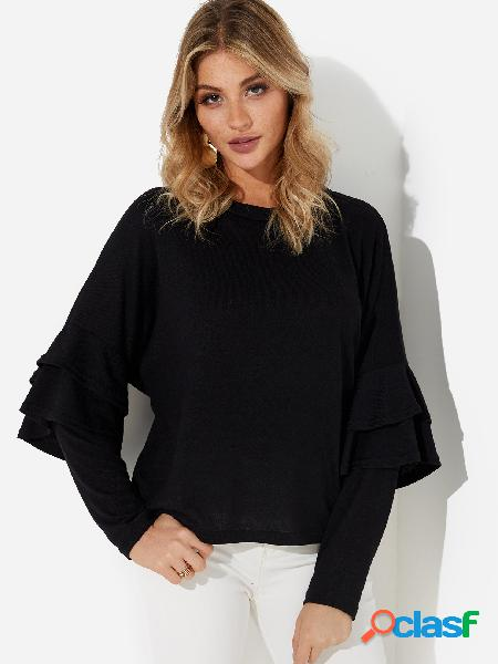 Black ruffle design plain round neck long sleeves sweaters