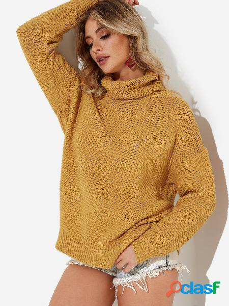 Yellow roll neck long sleeves sweater