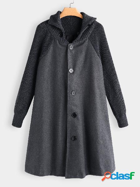 Grey roll neck button-down cable ribbed knitted cape trech coat