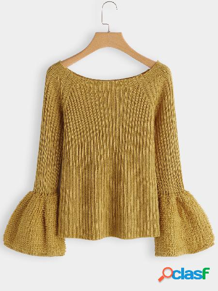 Yellow plain round neck bell sleeves knit sweaters