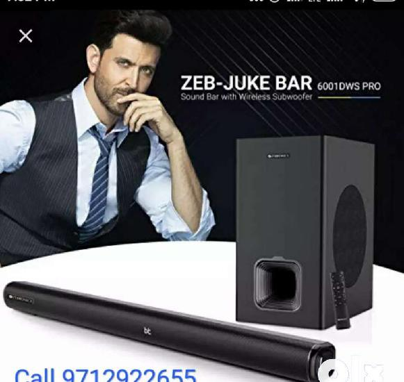 Home theater zebronic sound barr with wireless subwoofer
