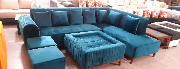 Sofa set lates greeen colour with center table and 2 puffy