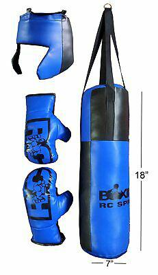 Punching bag, pair of gloves, head guard boxing kit for