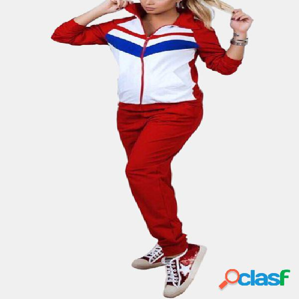 Active contrast color stitching zip design tracksuit in red