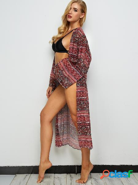 Floral print long sleeves maxi beach cover up