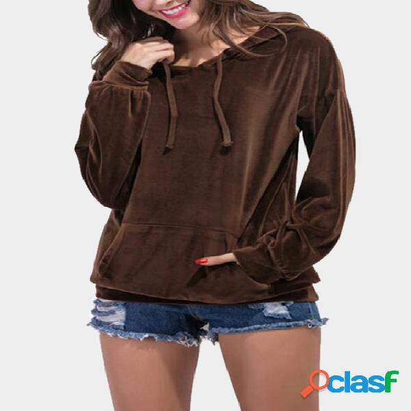 Coffee velvet double straps front hoodie with kangaroo pockets