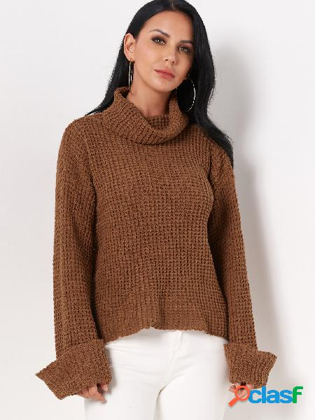 Coffee plain roll neck long sleeves regular fit casual sweaters