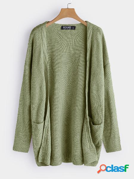 Army green side pockets long sleeves knitted coat