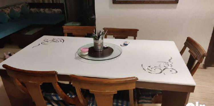 Dining table set (3x6 ft) with marble top (4 people)