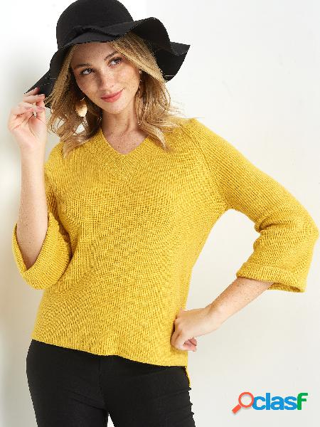 Casual Yellow Plain V-neck 3/4 Length Sleeves Regular Fit Sweaters