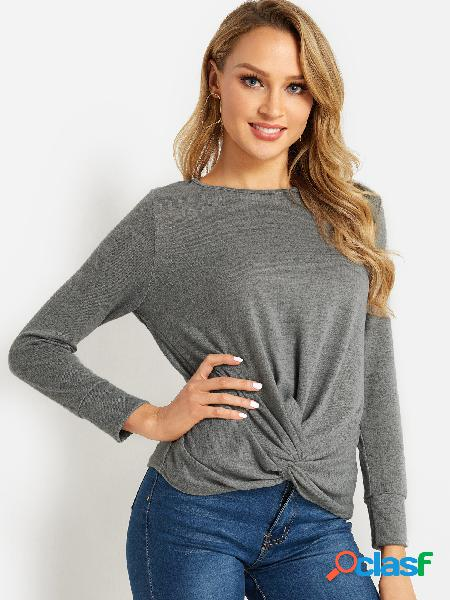 Grey Crossed Front Design Round Neck Long Sleeves Knitted Top