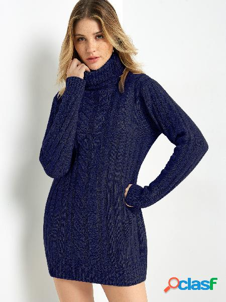 Navy Cable Knit High Neck Long Sleeves Sweater Dress