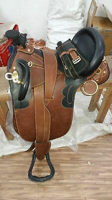 "18"" australian stock saddle full black & brown leather"