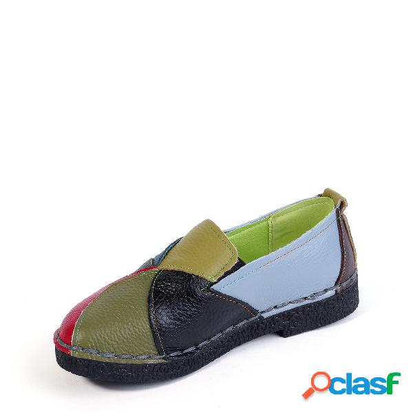 Green genuine leather color block slip-on loafers
