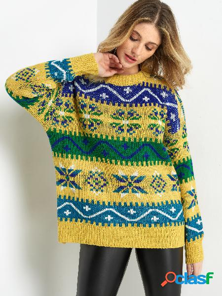 Yellow tribal print crew neck long sleeved knitted sweater
