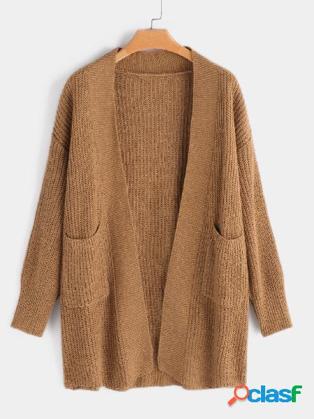 Coffee open front sweater coat with slip pocket