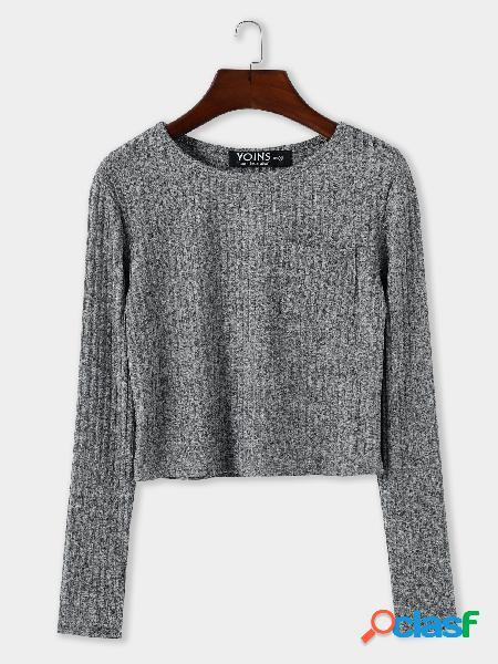 Grey pocket design round neck long sleeves knitted top