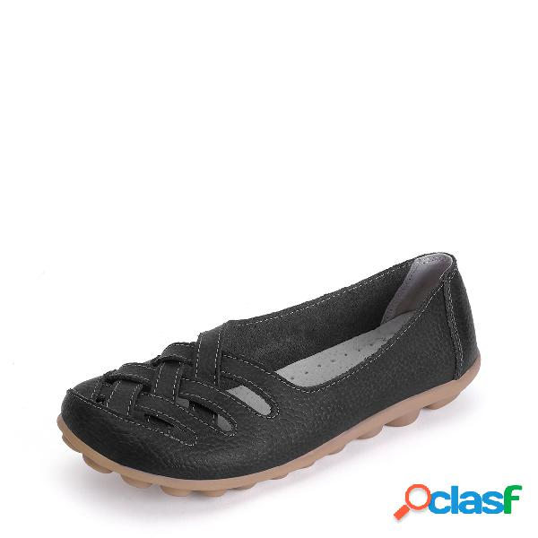 Black hollow out slip-on loafers flat