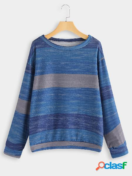 Blue color block stripe round neck long sleeves tee