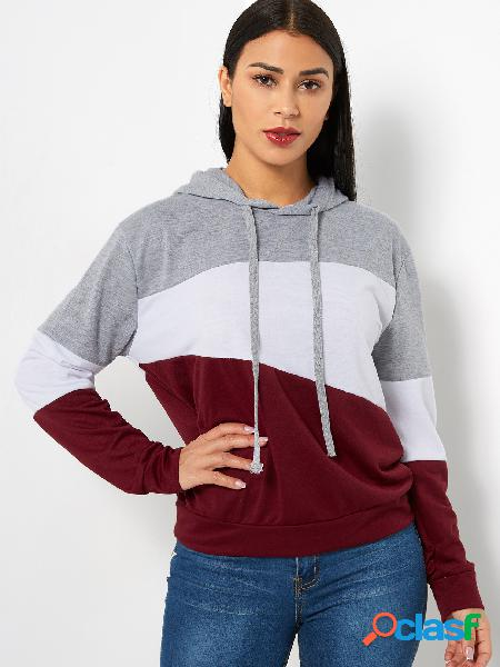 Color block pullover long sleeves stitching hoodie