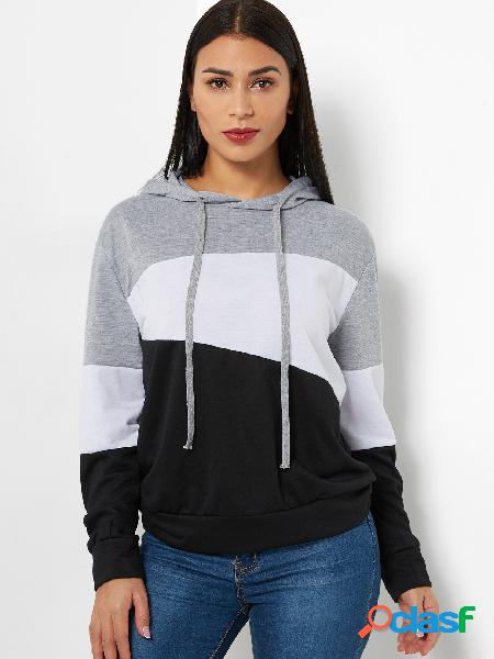 Color block style pullover long sleeves stitching hoodie
