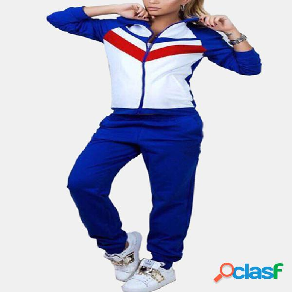 Active contrast color stitching zip design tracksuit in blue