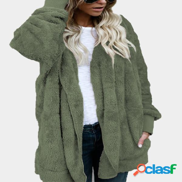 Army green hooded lapel collar long sleeves sweaters coat