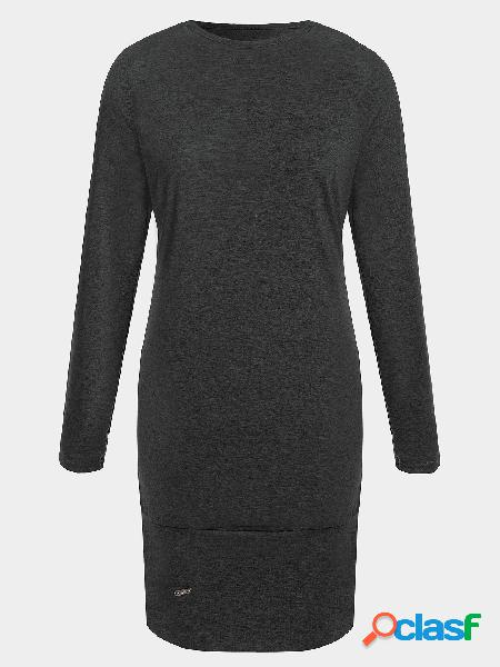 Black side pockets round neck long sleeves casual dress