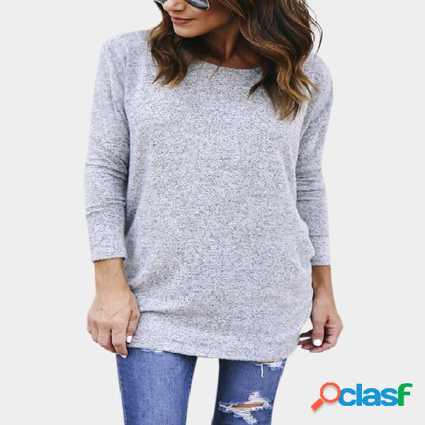 Grey Backless Design Crew Neck Long Sleeves Sweaters