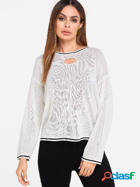Beige cut out round neck long sleeves knitted top