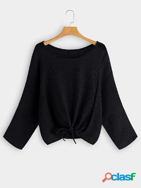 Black round neck long sleeves knot front tee