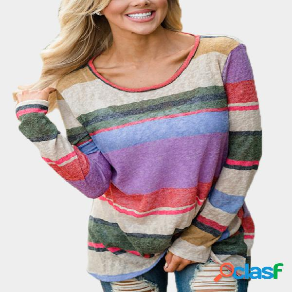 Color block stripe round neck long sleeves knot front top