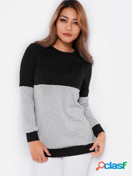 Black & grey color block round neck long sleeves t-shirt