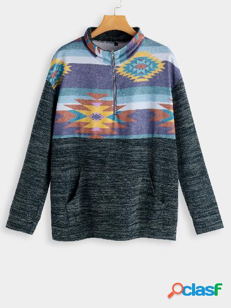 Green Printed Pocket Design High Neck Long Sleeves Sweaters