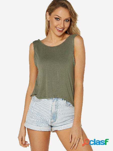 Army green backless design crew neck open back cami