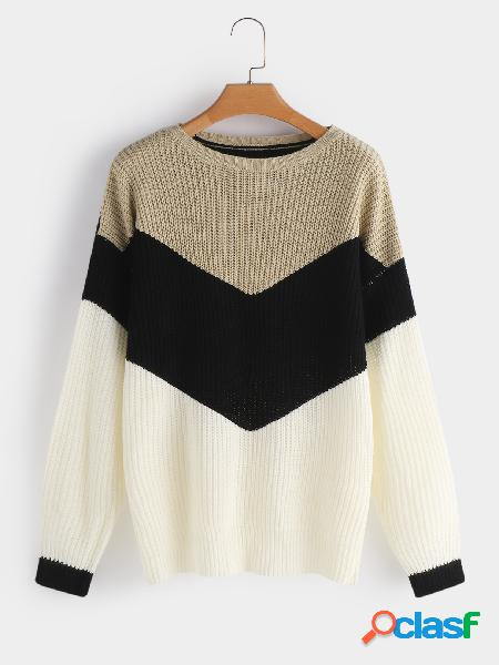 Color block cable knit stripe round neck long sleeves sweaters
