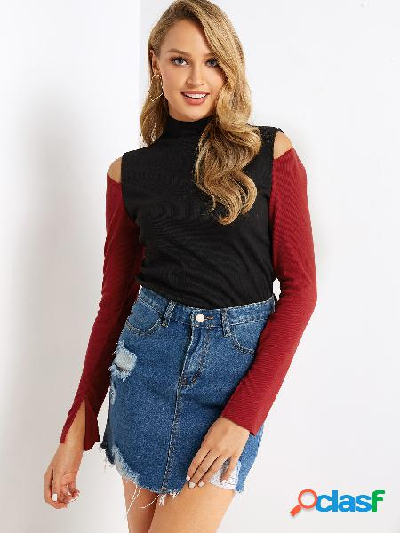 Color block color block cut out high neck long sleeves knitted top