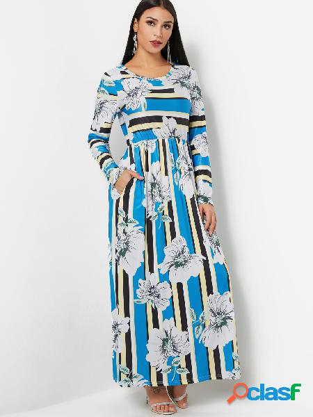 Round neck long sleeve random floral print maxi prom dress in blue