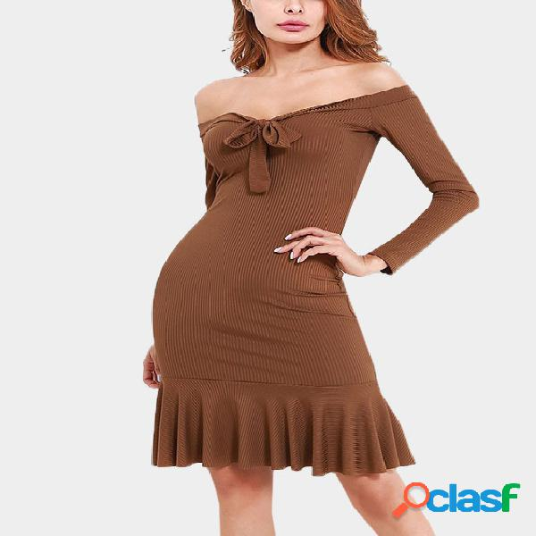 Brown tie-up front design off the shoulder long sleeves rib dress
