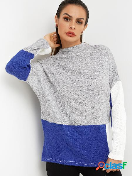 Color block grey & blue plain crew neck long sleeves loose fit t-shirts