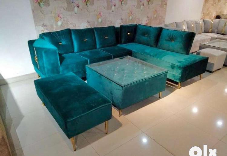 Sofa with center table & puffies