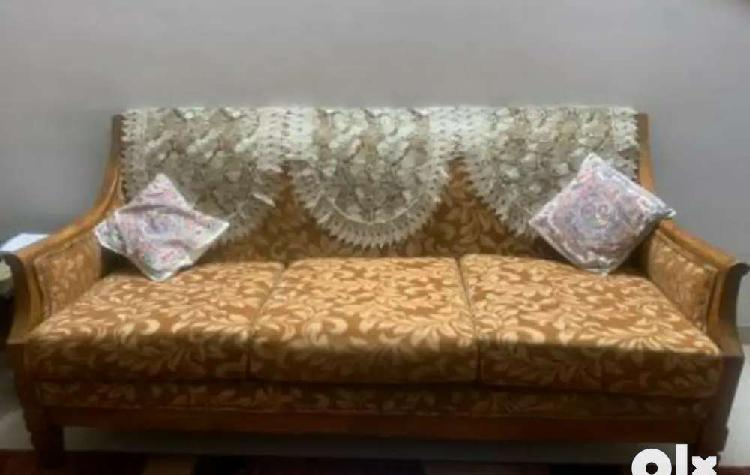 3+1+1 seater teak wood sofa set with floral design cover.