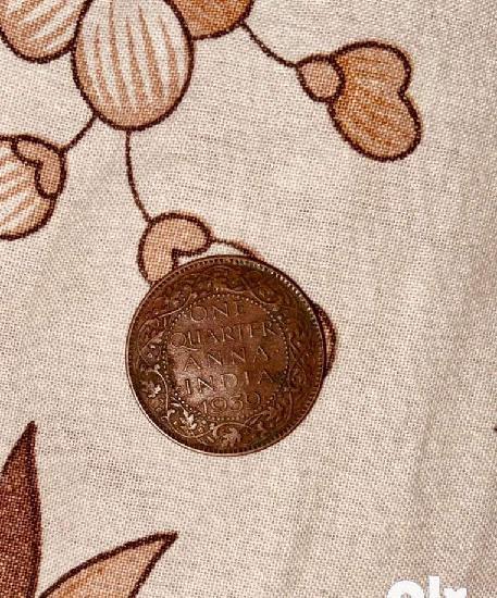 Indian antique coin 1939 one quarter anna