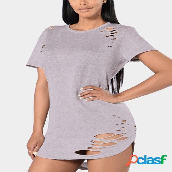 Round neck cutout hollow design t-shirts in light grey