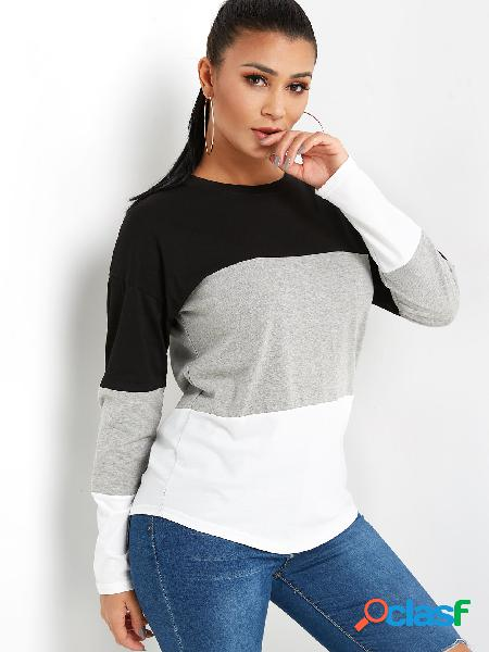 Color block round neck long sleeves t-shirt